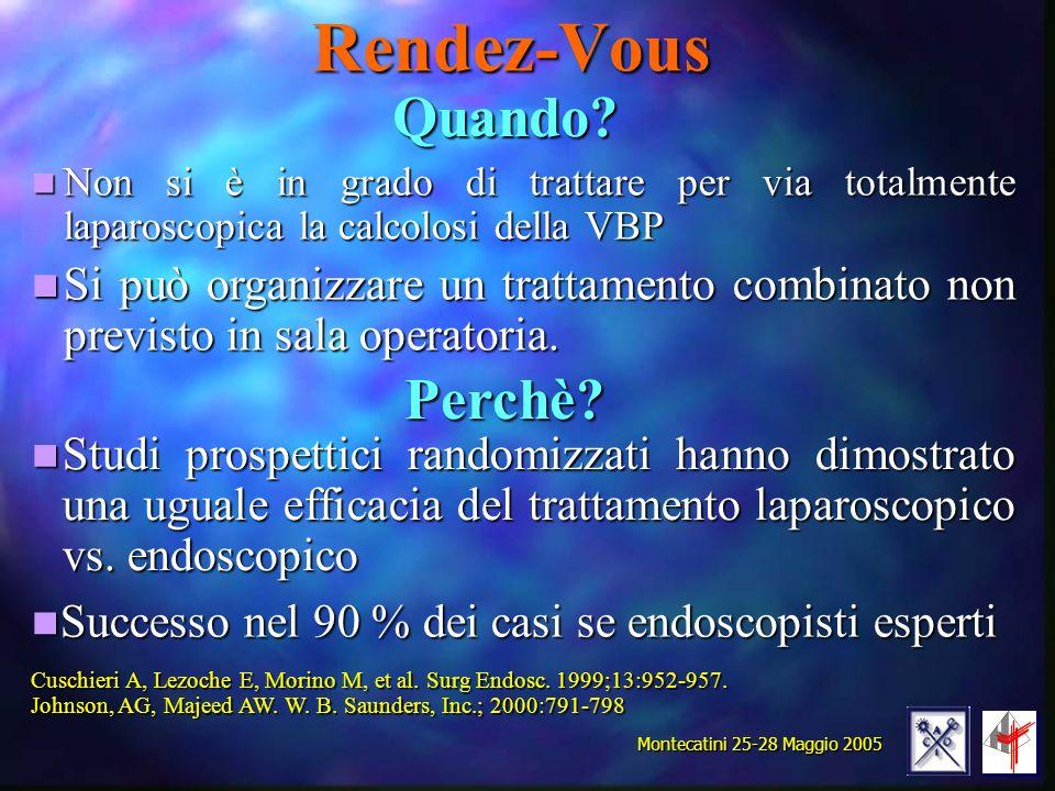 Rendez-Vous Non si è in grado di trattare per via totalmente laparoscopica la calcolosi della VBP Non si è in grado di trattare per via totalmente lap