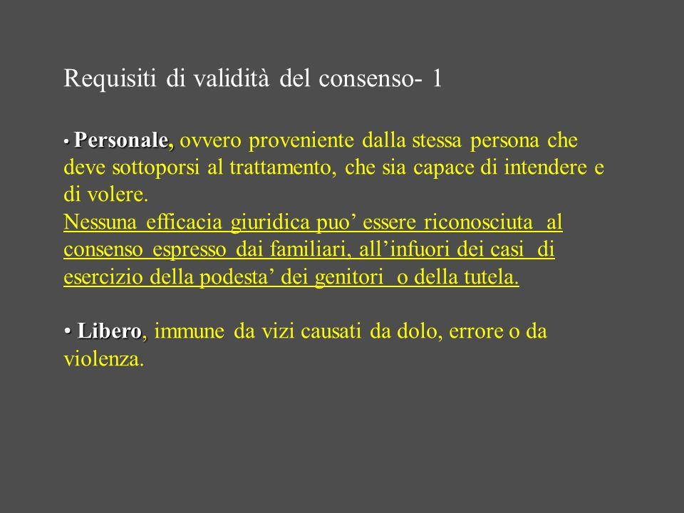 Requisiti di validità del consenso- 1 Personale, Personale, ovvero proveniente dalla stessa persona che deve sottoporsi al trattamento, che sia capace