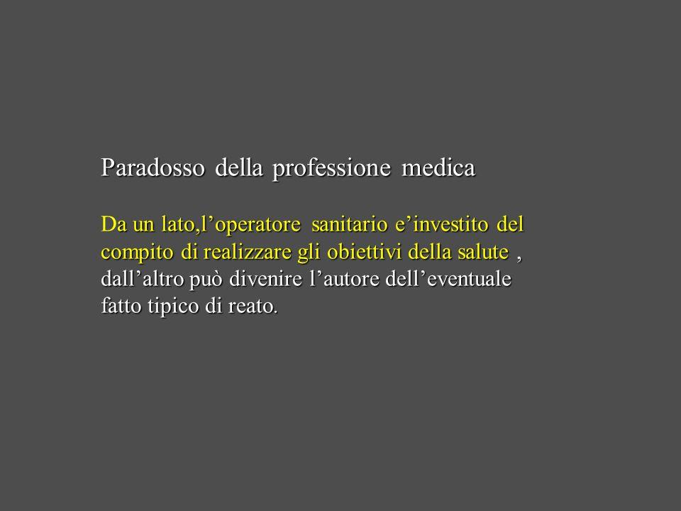 Paradosso della professione medica a un lato,loperatore sanitario einvestito del compito di realizzare gli obiettivi della salute, dallaltro può diven