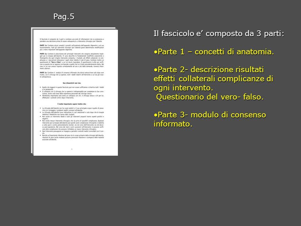 Il fascicolo e composto da 3 parti: Parte 1 – concetti di anatomia.Parte 1 – concetti di anatomia. Parte 2- descrizione risultati effetti collaterali