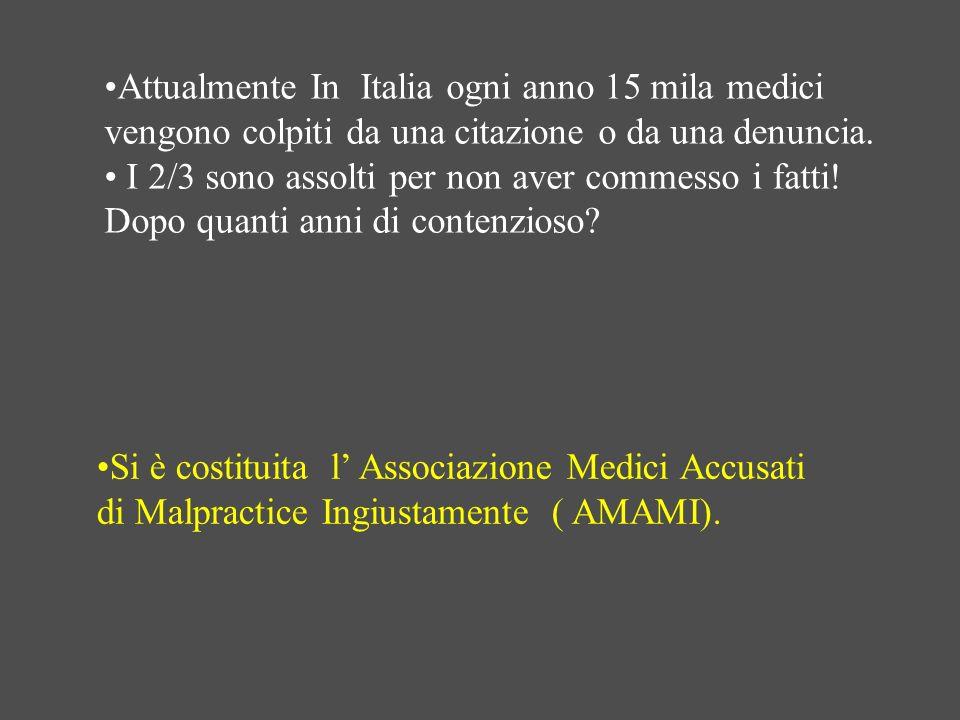 Attualmente In Italia ogni anno 15 mila medici vengono colpiti da una citazione o da una denuncia. I 2/3 sono assolti per non aver commesso i fatti! D