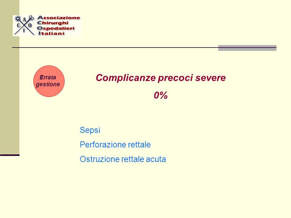 Sepsi Perforazione rettale Ostruzione rettale acuta Complicanze precoci severe 0% Errata gestione