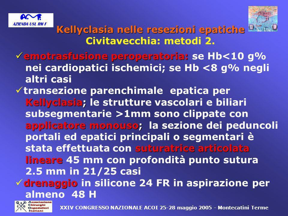 emotrasfusione peroperatoria: emotrasfusione peroperatoria: se Hb<10 g% nei cardiopatici ischemici; se Hb <8 g% negli altri casi transezione parenchim