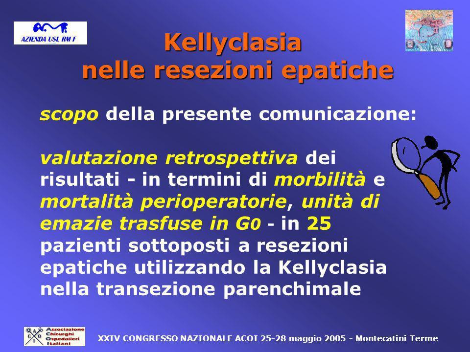 reintervento nessuna complicanza 1*/25: 4% 24=96% 1=4% XXIV CONGRESSO NAZIONALE ACOI 25-28 maggio 2005 - Montecatini Terme * emorragia massiva dopo bisegmentomia II-III per HCC su cirrosi con rilaparotomia di emostasi complicata da coma epatico/MOF e morte in G18 Kellyclasia nelle resezioni epatiche Civitavecchia: risultati 2.