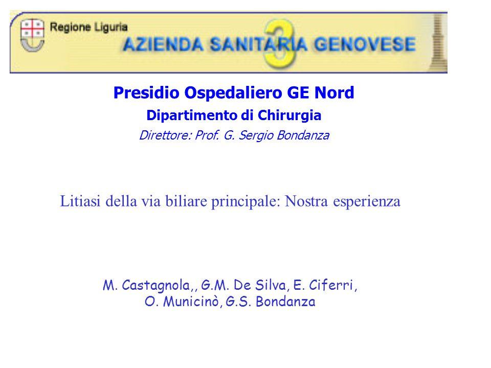 Presidio Ospedaliero GE Nord Dipartimento di Chirurgia Direttore: Prof. G. Sergio Bondanza Litiasi della via biliare principale: Nostra esperienza M.