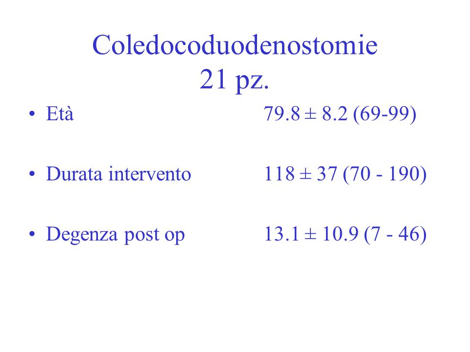 Coledocoduodenostomie 21 pz. Età 79.8 ± 8.2 (69-99) Durata intervento 118 ± 37 (70 - 190) Degenza post op 13.1 ± 10.9 (7 - 46)