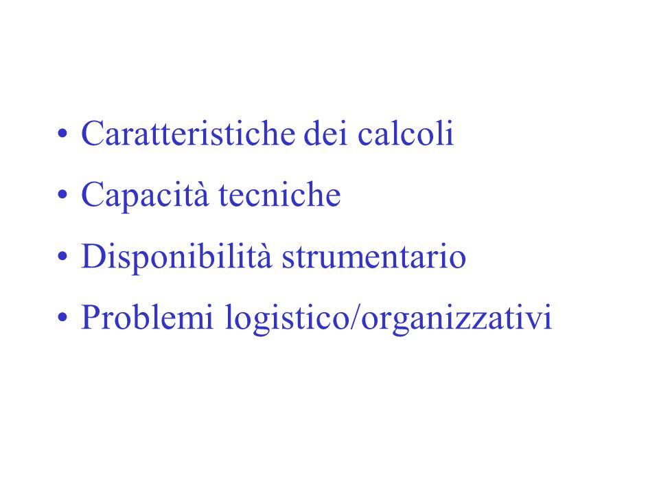 Caratteristiche dei calcoli Capacità tecniche Disponibilità strumentario Problemi logistico/organizzativi