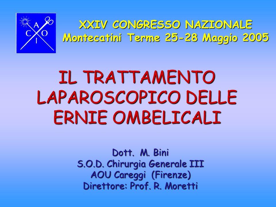 IL TRATTAMENTO LAPAROSCOPICO DELLE ERNIE OMBELICALI XXIV CONGRESSO NAZIONALE Montecatini Terme 25-28 Maggio 2005 Dott. M. Bini S.O.D. Chirurgia Genera