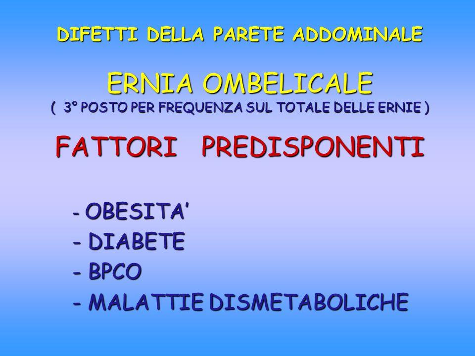 DIFETTI DELLA PARETE ADDOMINALE ERNIA OMBELICALE ( 3° POSTO PER FREQUENZA SUL TOTALE DELLE ERNIE ) FATTORI PREDISPONENTI - OBESITA - DIABETE - BPCO -