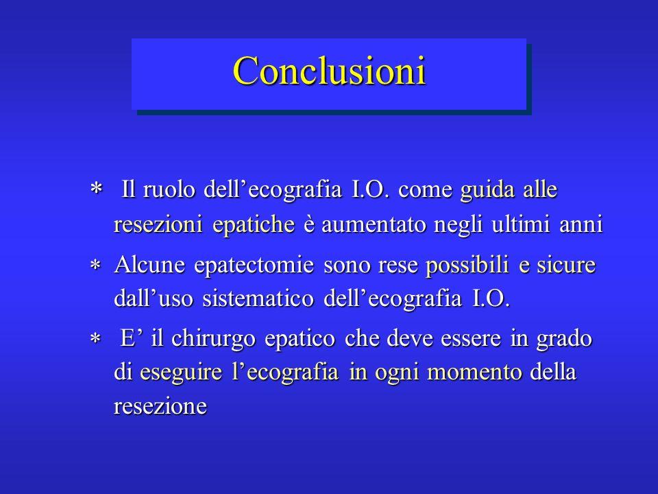 Conclusioni Il ruolo dellecografia I.O. come guida alle resezioni epatiche è aumentato negli ultimi anni Il ruolo dellecografia I.O. come guida alle r