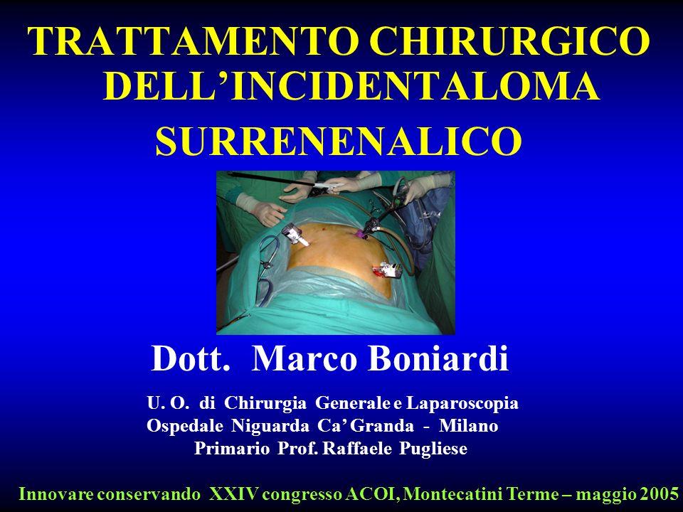 TRATTAMENTO CHIRURGICO DELLINCIDENTALOMA SURRENENALICO U. O. di Chirurgia Generale e Laparoscopia Ospedale Niguarda Ca Granda - Milano Primario Prof.