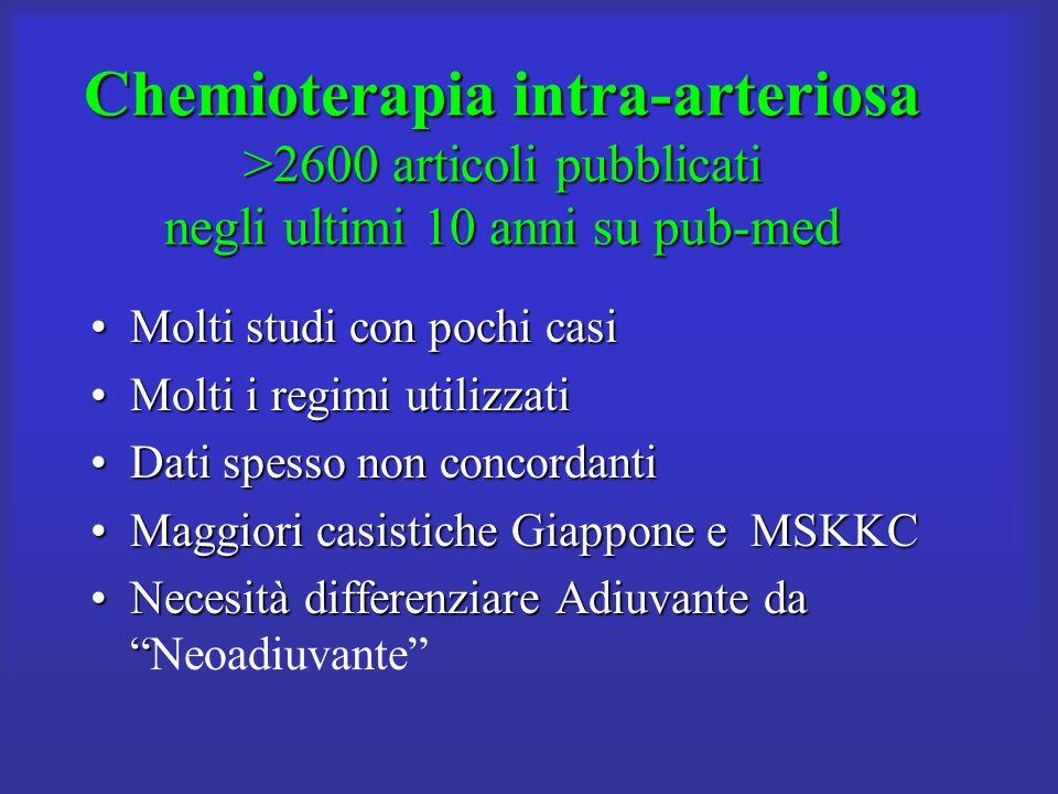 Chemioterapia intra-arteriosa >2600 articoli pubblicati negli ultimi 10 anni su pub-med Molti studi con pochi casiMolti studi con pochi casi Molti i r