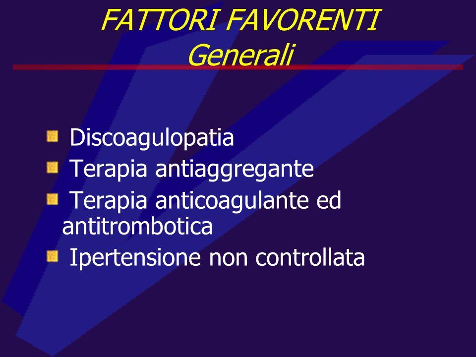 Discoagulopatia Terapia antiaggregante Terapia anticoagulante ed antitrombotica Ipertensione non controllata FATTORI FAVORENTI Generali