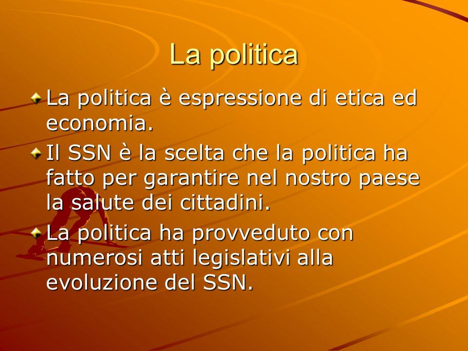 La politica La politica è espressione di etica ed economia.