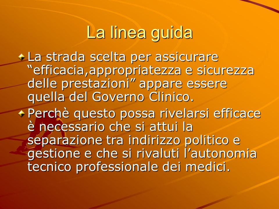 La linea guida La strada scelta per assicurare efficacia,appropriatezza e sicurezza delle prestazioni appare essere quella del Governo Clinico.