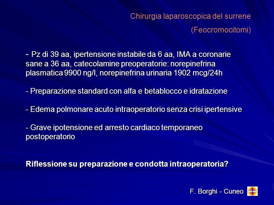 - Pz di 39 aa, ipertensione instabile da 6 aa, IMA a coronarie sane a 36 aa, catecolamine preoperatorie: norepinefrina plasmatica 9900 ng/l, norepinef