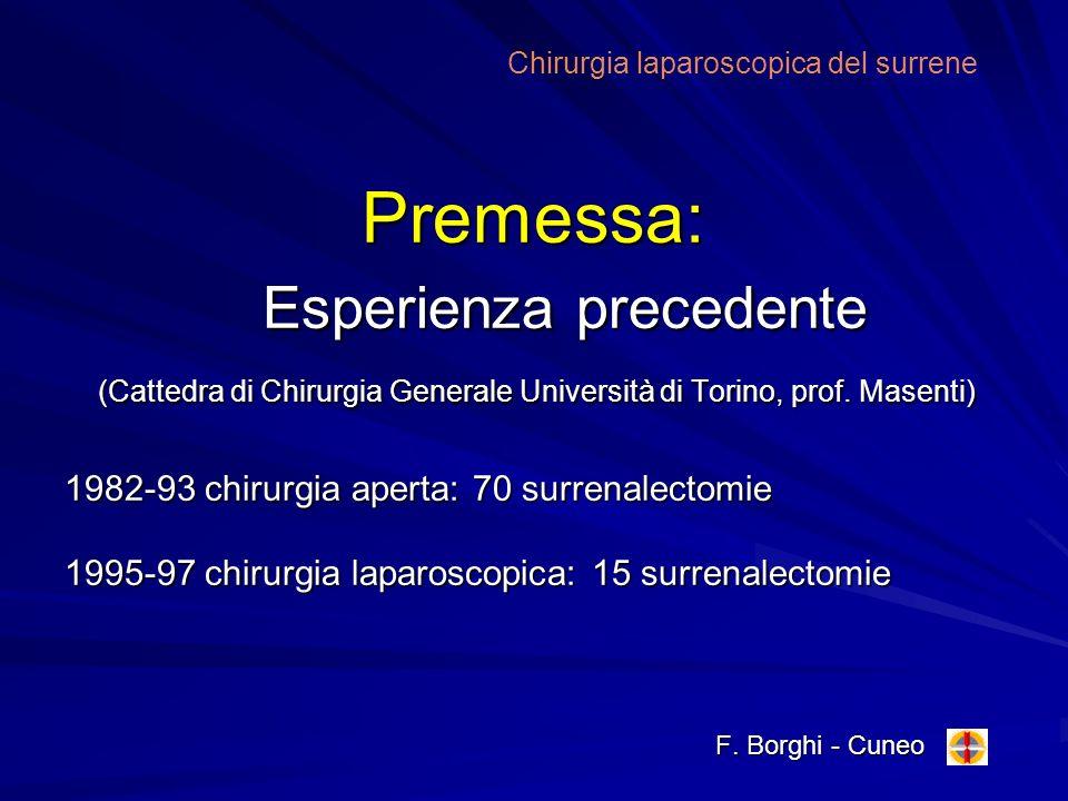 Premessa: Esperienza precedente (Cattedra di Chirurgia Generale Università di Torino, prof. Masenti) 1982-93 chirurgia aperta: 70 surrenalectomie 1995