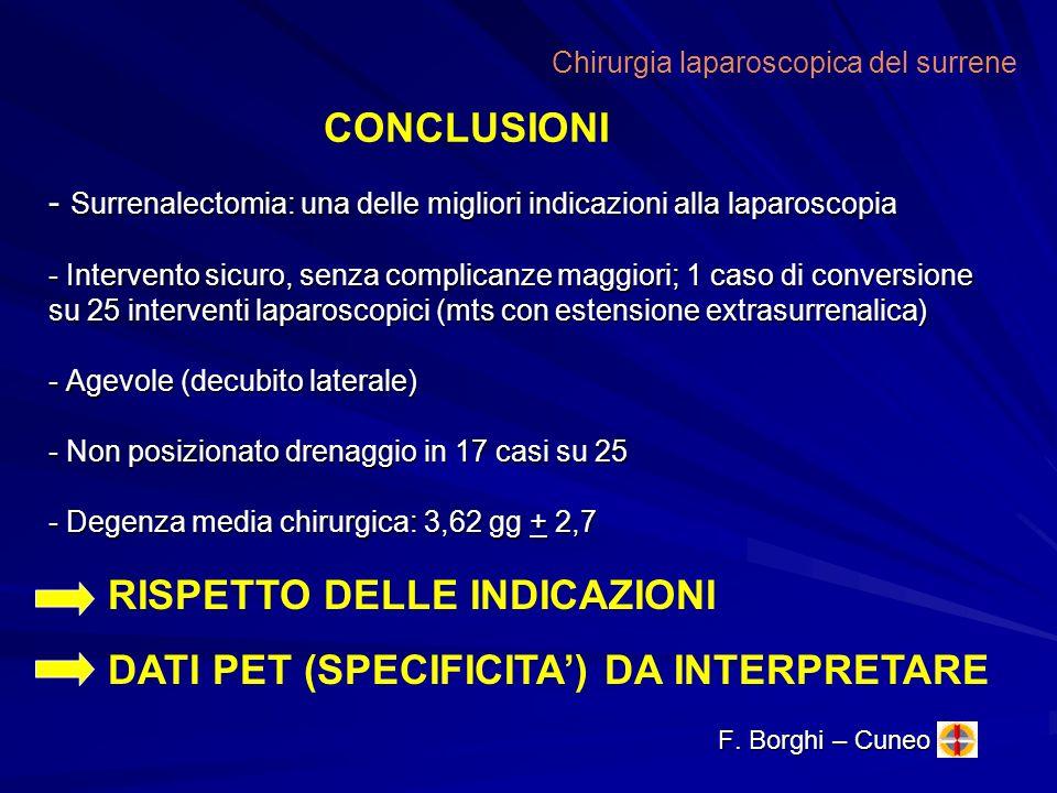 - Surrenalectomia: una delle migliori indicazioni alla laparoscopia - Intervento sicuro, senza complicanze maggiori; 1 caso di conversione su 25 inter