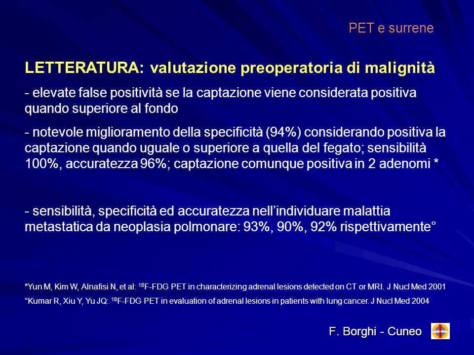 F. Borghi - Cuneo PET e surrene LETTERATURA: valutazione preoperatoria di malignità - elevate false positività se la captazione viene considerata posi