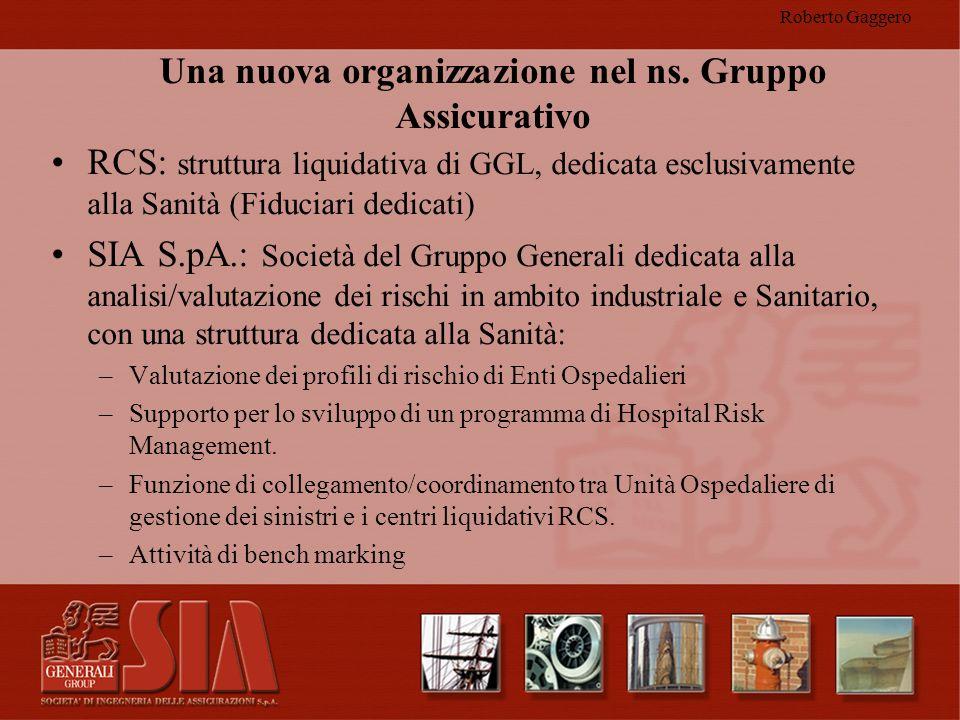 Roberto Gaggero Una nuova organizzazione nel ns. Gruppo Assicurativo RCS: struttura liquidativa di GGL, dedicata esclusivamente alla Sanità (Fiduciari