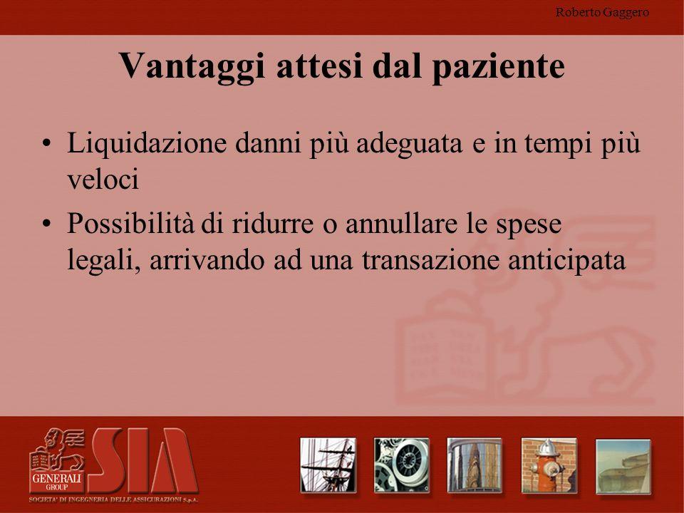 Roberto Gaggero Vantaggi attesi dal paziente Liquidazione danni più adeguata e in tempi più veloci Possibilità di ridurre o annullare le spese legali,
