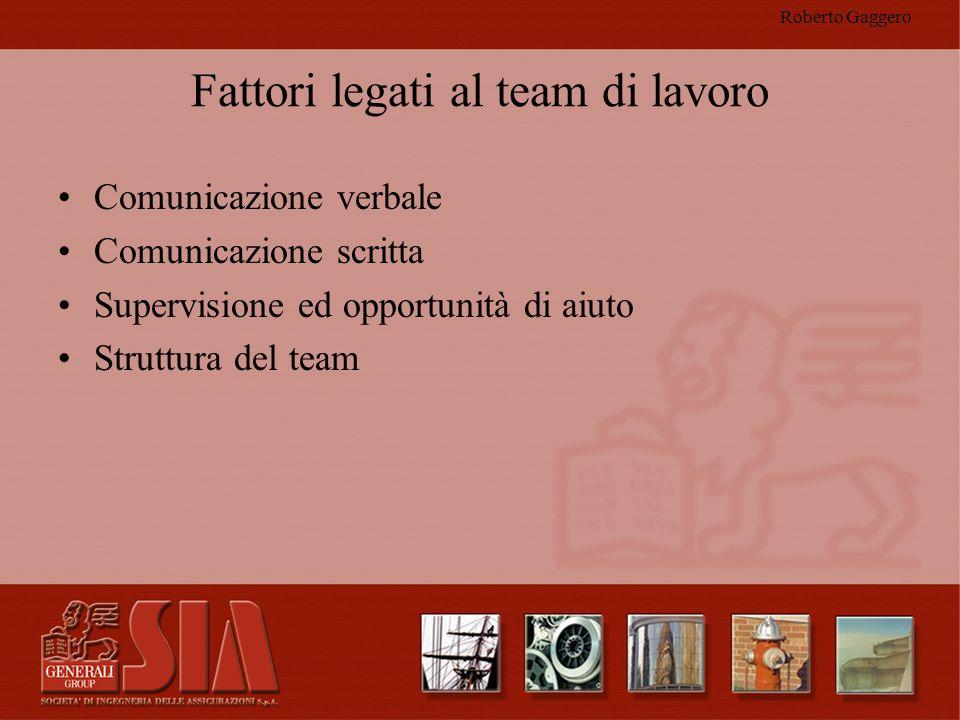 Roberto Gaggero Fattori legati al team di lavoro Comunicazione verbale Comunicazione scritta Supervisione ed opportunità di aiuto Struttura del team