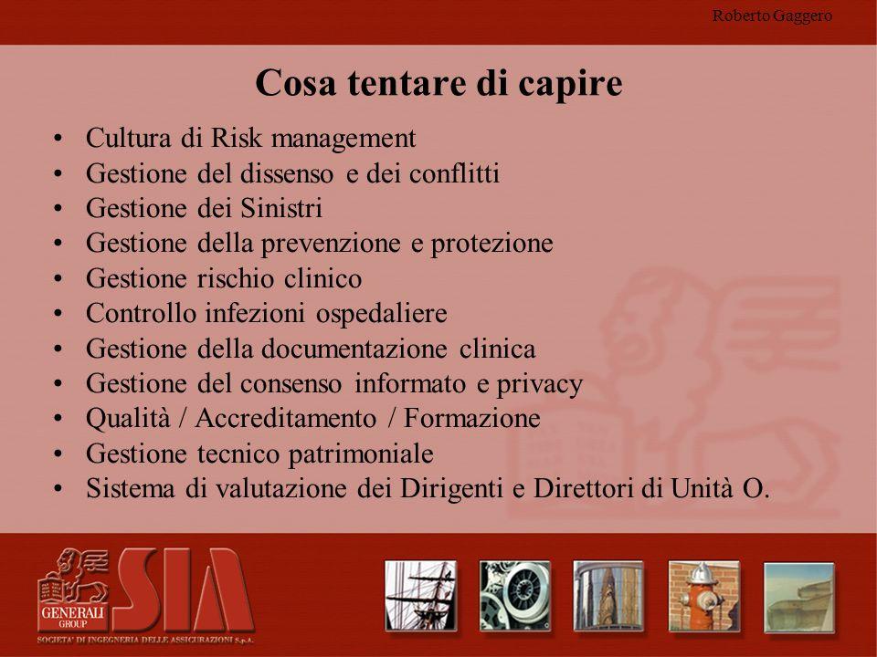 Roberto Gaggero Cosa tentare di capire Cultura di Risk management Gestione del dissenso e dei conflitti Gestione dei Sinistri Gestione della prevenzio