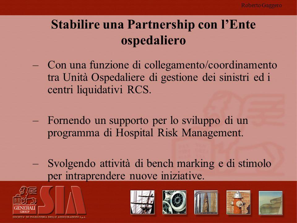 Roberto Gaggero Stabilire una Partnership con lEnte ospedaliero –Con una funzione di collegamento/coordinamento tra Unità Ospedaliere di gestione dei