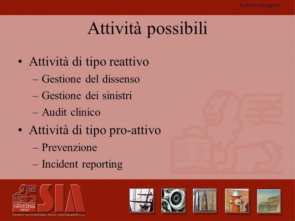 Roberto Gaggero Attività possibili Attività di tipo reattivo –Gestione del dissenso –Gestione dei sinistri –Audit clinico Attività di tipo pro-attivo