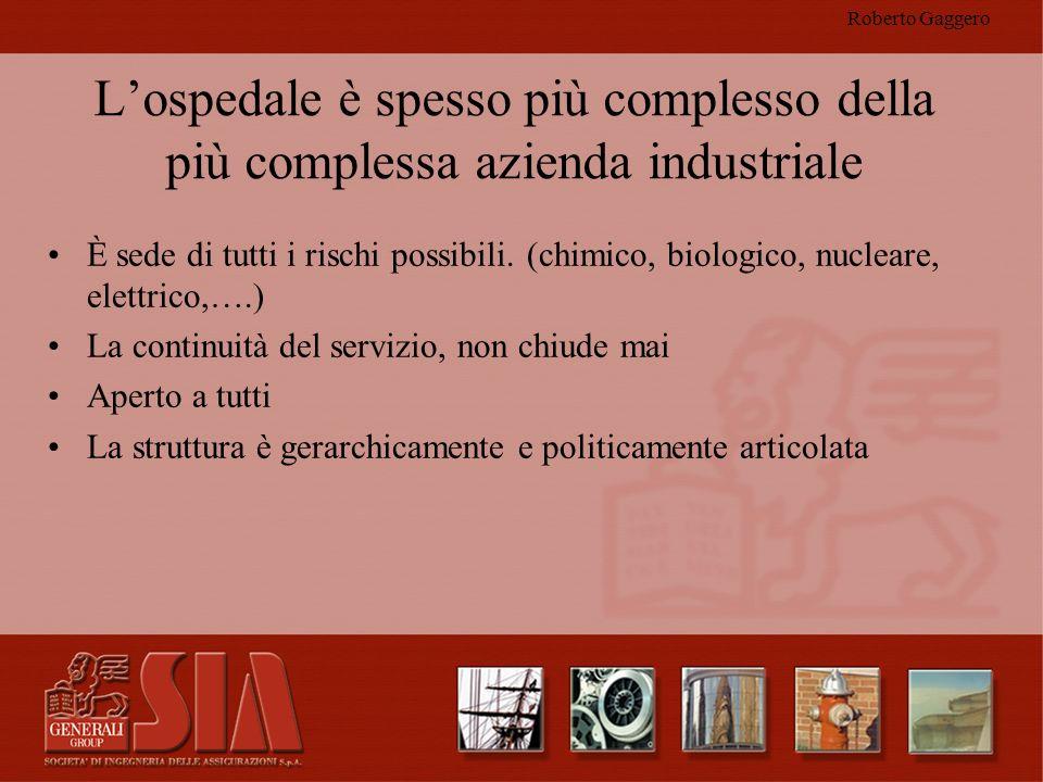 Roberto Gaggero Lospedale è spesso più complesso della più complessa azienda industriale È sede di tutti i rischi possibili. (chimico, biologico, nucl