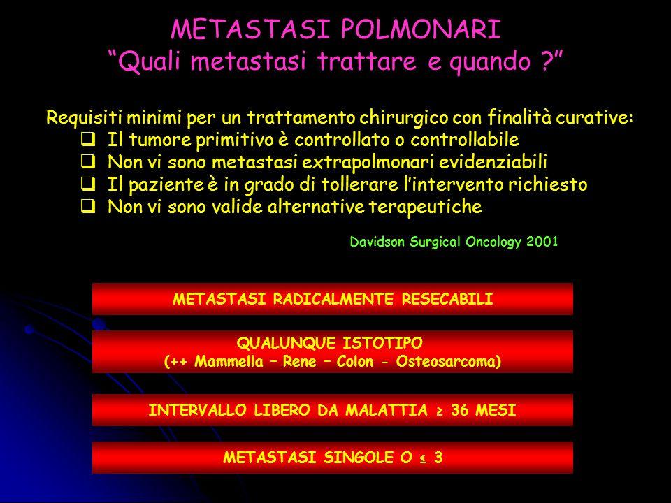METASTASI POLMONARI DIMENSIONI DEL PROBLEMA POTENZIALI FATTORI PREDITTIVI DI SOPRAVVIVENZA DOPO CHIRURGIA DELLE METASTASI POLMONARI STORIA DELLA CHIRURGIA DELLE METASTASI POLMONARI IL REGISTRO INTERNAZIONALE DELLE METASTASI POLMONARI ALTRI FATTORI PREDITTIVI DI SOPRAVVIVENZA .