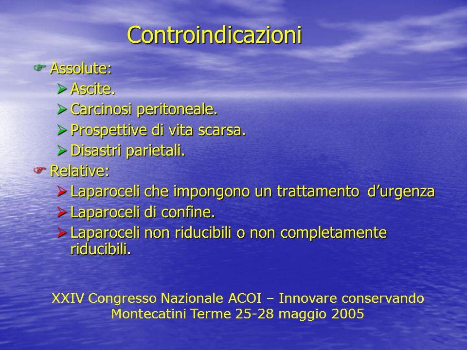 XXIV Congresso Nazionale ACOI – Innovare conservando Montecatini Terme 25-28 maggio 2005 Assolute: Assolute: Ascite. Ascite. Carcinosi peritoneale. Ca