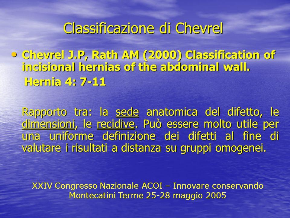 XXIV Congresso Nazionale ACOI – Innovare conservando Montecatini Terme 25-28 maggio 2005 Classificazione di Chevrel Chevrel J.P, Rath AM (2000) Classi