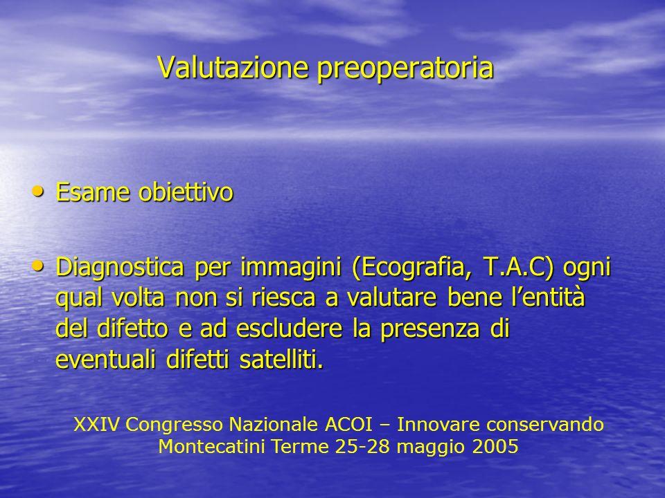 XXIV Congresso Nazionale ACOI – Innovare conservando Montecatini Terme 25-28 maggio 2005 Valutazione preoperatoria Esame obiettivo Esame obiettivo Dia