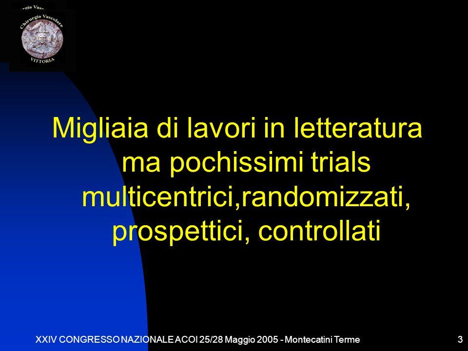 XXIV CONGRESSO NAZIONALE ACOI 25/28 Maggio 2005 - Montecatini Terme3 Migliaia di lavori in letteratura ma pochissimi trials multicentrici,randomizzati, prospettici, controllati