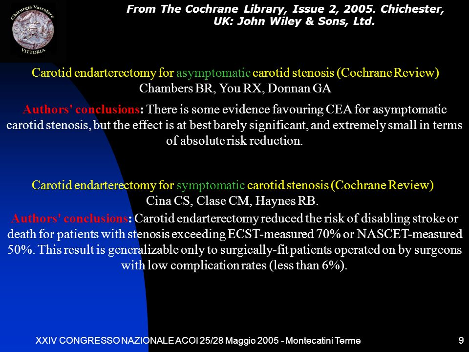 XXIV CONGRESSO NAZIONALE ACOI 25/28 Maggio 2005 - Montecatini Terme9 Authors' conclusions: There is some evidence favouring CEA for asymptomatic carot