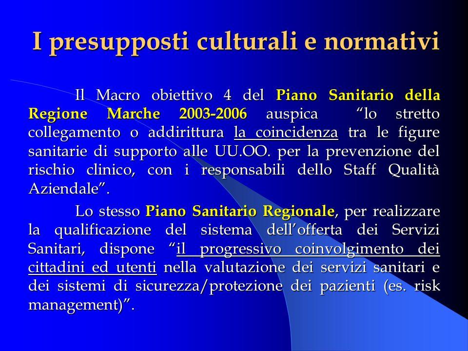 Il Macro obiettivo 4 del Piano Sanitario della Regione Marche 2003-2006 auspica lo stretto collegamento o addirittura la coincidenza tra le figure san