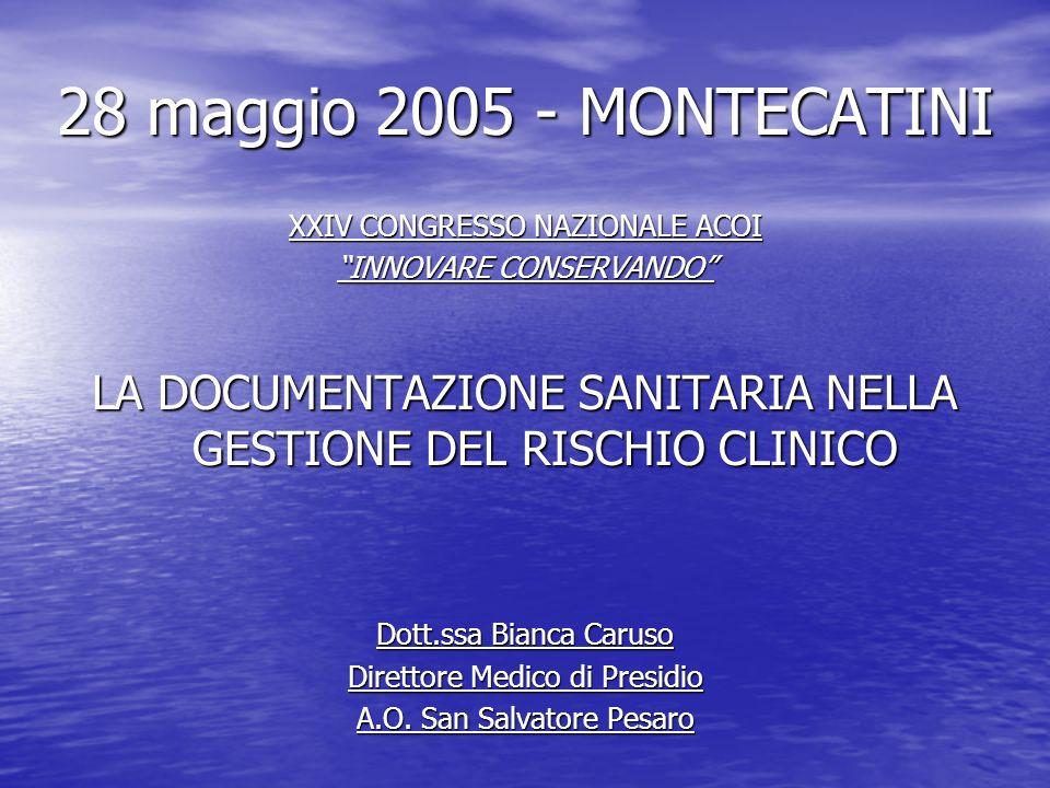 28 maggio 2005 - MONTECATINI XXIV CONGRESSO NAZIONALE ACOI INNOVARE CONSERVANDO LA DOCUMENTAZIONE SANITARIA NELLA GESTIONE DEL RISCHIO CLINICO Dott.ss