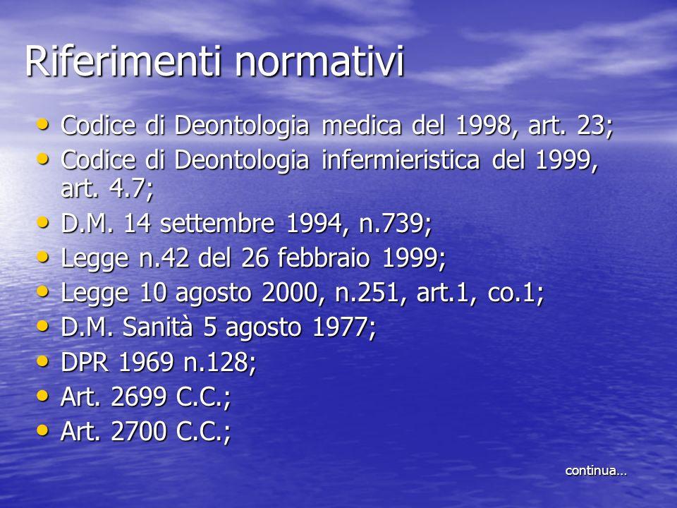 Riferimenti normativi Codice di Deontologia medica del 1998, art. 23; Codice di Deontologia medica del 1998, art. 23; Codice di Deontologia infermieri