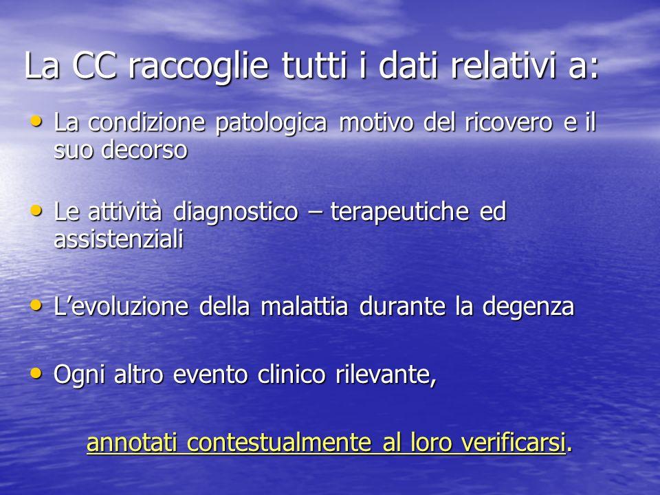 La CC raccoglie tutti i dati relativi a: La condizione patologica motivo del ricovero e il suo decorso La condizione patologica motivo del ricovero e