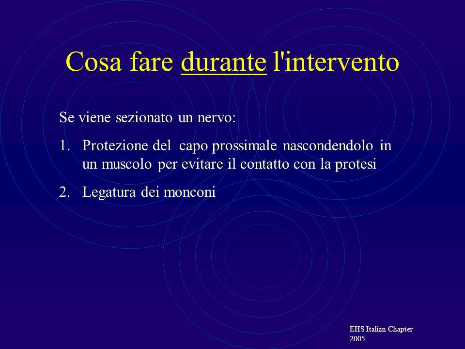 EHS Italian Chapter 2005 Cosa fare durante l'intervento Se viene sezionato un nervo: 1.Protezione del capo prossimale nascondendolo in un muscolo per