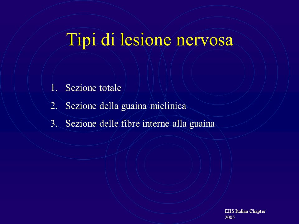 EHS Italian Chapter 2005 Tipi di lesione nervosa 1.Sezione totale 2.Sezione della guaina mielinica 3.Sezione delle fibre interne alla guaina