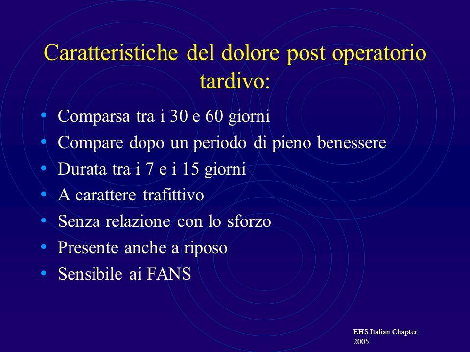 EHS Italian Chapter 2005 Caratteristiche del dolore post operatorio tardivo: Comparsa tra i 30 e 60 giorni Compare dopo un periodo di pieno benessere