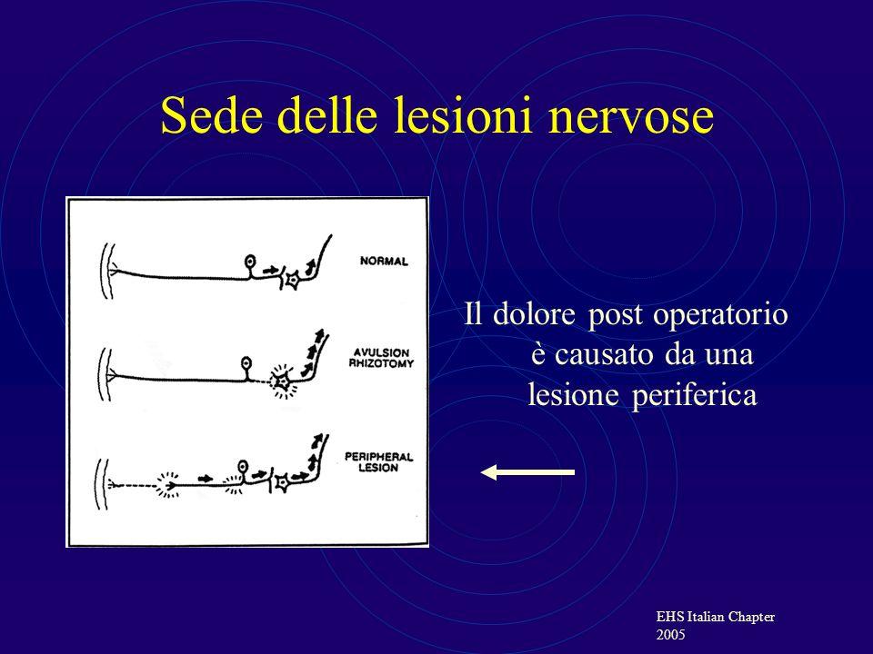 EHS Italian Chapter 2005 Definizione del dolore PERIFERICO quando deriva dalleccitazione della porzione recettoriale del 1° neurone