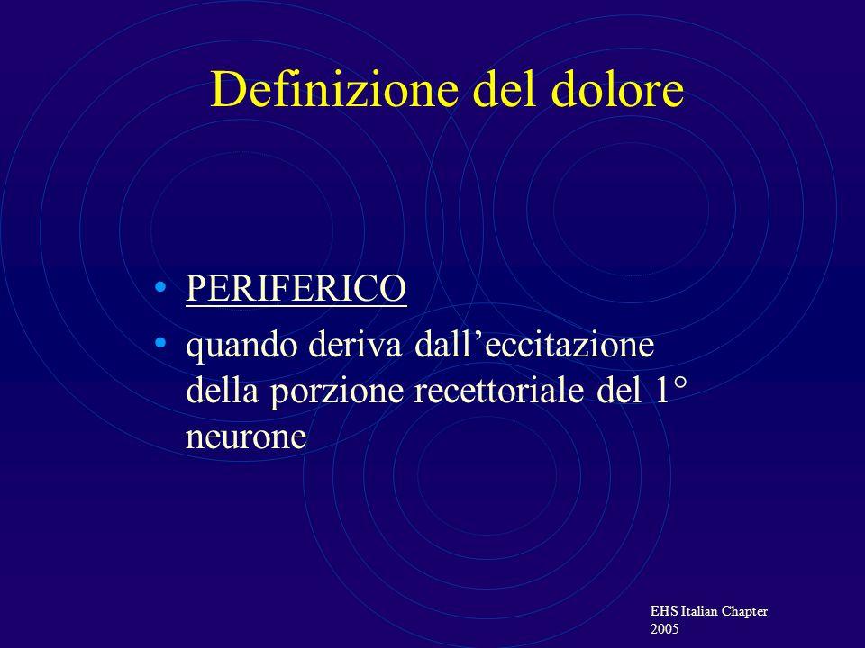 EHS Italian Chapter 2005 NEUROPATICO se, in presenza di un danno nervoso, deriva dallattivazione ectopica del neurone in una sua porzione abitualmente non recettoriale Definizione del dolore