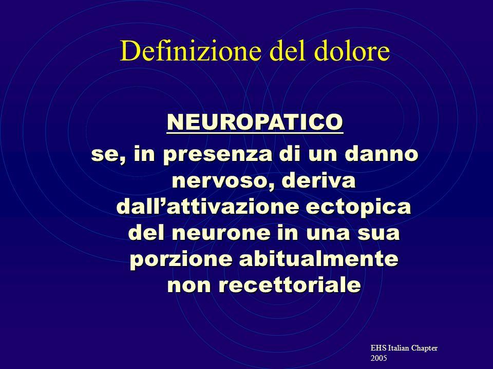 EHS Italian Chapter 2005 NEUROPATICO se, in presenza di un danno nervoso, deriva dallattivazione ectopica del neurone in una sua porzione abitualmente