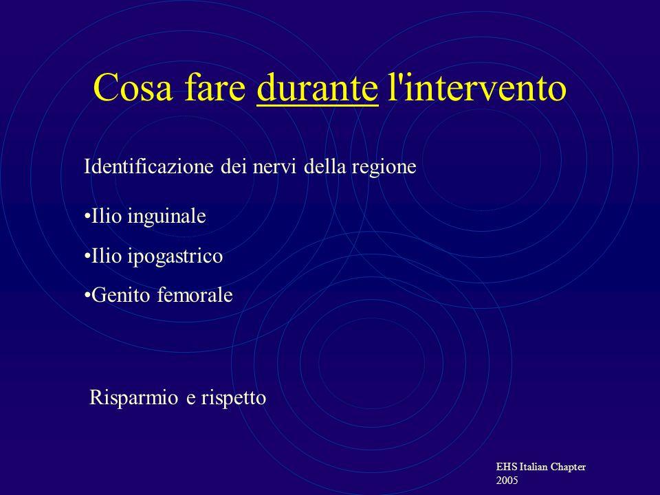 EHS Italian Chapter 2005 Cosa fare durante l intervento Se viene sezionato un nervo: 1.Protezione del capo prossimale nascondendolo in un muscolo per evitare il contatto con la protesi 2.Legatura dei monconi