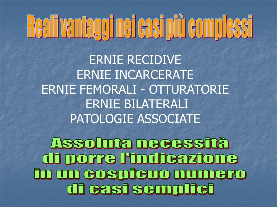 ERNIE RECIDIVE ERNIE INCARCERATE ERNIE FEMORALI - OTTURATORIE ERNIE BILATERALI PATOLOGIE ASSOCIATE