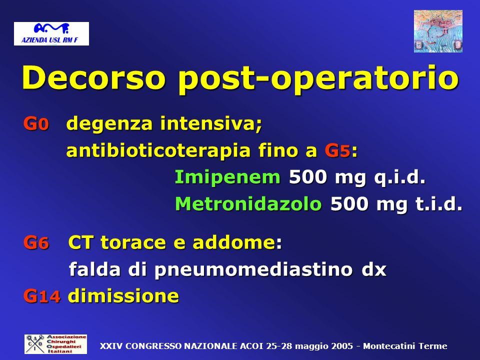 Decorso post-operatorio G 0 degenza intensiva; antibioticoterapia fino a G 5 : antibioticoterapia fino a G 5 : Imipenem 500 mg q.i.d. Imipenem 500 mg