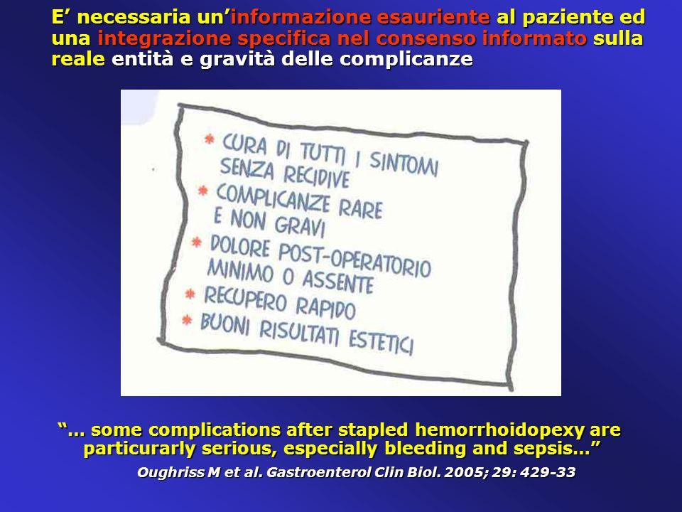 E necessaria uninformazione esauriente al paziente ed una integrazione specifica nel consenso informato sulla reale entità e gravità delle complicanze